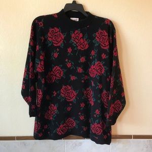 Vintage 90s Oversized Sweater Sparkle Red Roses